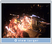 Zoic used NVIDIA Quadro graphics to blend foreground action (person flying away from the explosion) with background action (explosion and spaceship) in Battlestar.